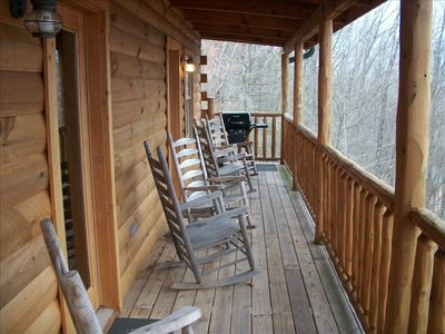 Upstairs Deck - Mountain View, Plenty of Rocking Chairs, Gas Grill