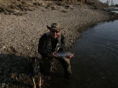 The owner Al and his new pal Strabo with a large cutthroat caught just upstream.