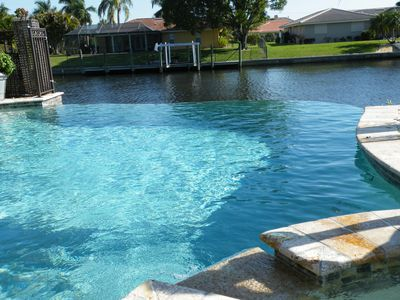 The beautiful infinity edge pool just outside the master bedroom awaits you.