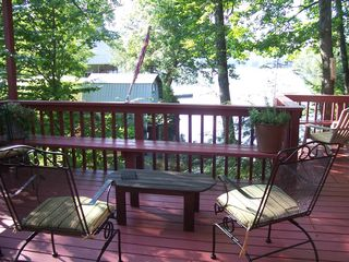 Lake Rescue chalet photo - Side deck overlooking lake