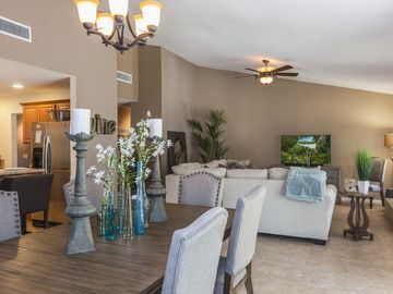 Desert Hot Springs house rental - Living/Dining Space - The elegant living and dining space is perfect for sit-down dinners.