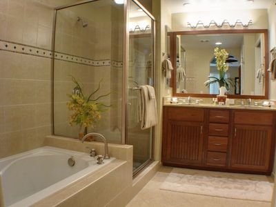 Master Bath with Shower, Large Soaking Tub, Double Sink & Walk-in Closet