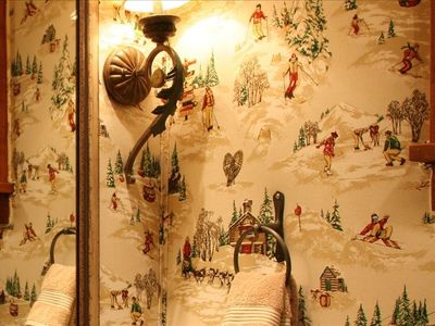 Ski Theme~Upholstered Wall in Powder Room