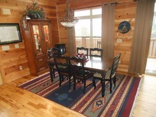 Helen cabin photo - Dining Room Table sits 7 extra holding table & 4 chairs