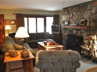Beautiful stone fireplace will keep you warm (TV upgraded to 42