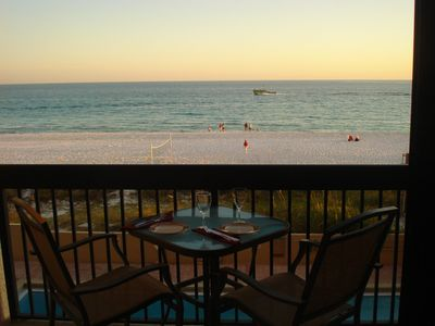 Sundestin condo rental - Dinner on your balcony as the sun in going down.