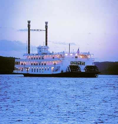 """The Showboat Branson Belle"" gliding on Table Rock Lake"