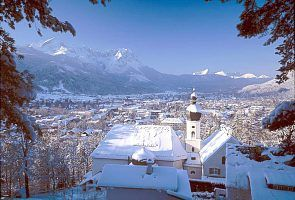 Garmisch-Partenkirchen nestled below the Zugspitze