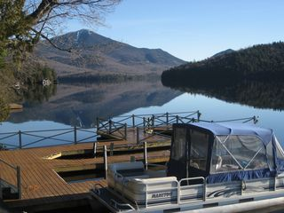 Lake Placid house photo - dock and pontoon boat