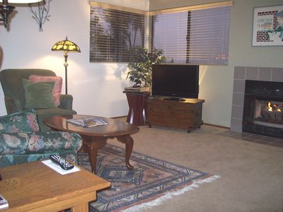 Living Room has gas fireplace, flat-screen TV, French door to patio (not shown)