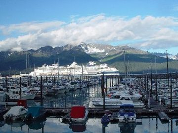 Seward's boat harbor, with a cruise ship in port.