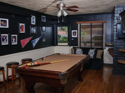 """8 ball - side pocket"" Billiards, 32"" LCD TV, DVD....good times also included."