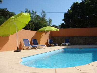 A 900 M from the pinarello mini beach villa in a small residence with pool and tennis, enclosed landscaped park nice and quiet, view of the Bavella Mountains.
