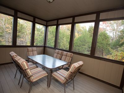 Screened-in deck off of the main level for eating or listening to birds/nature