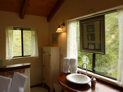 Beautiful views of the mountains and valley from the gorgeous bathroom!