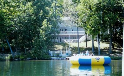 View from lake showing water trampoline