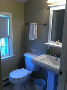 upstairs bath w/ large oversized tile shower