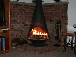 Tannersville townhome photo - Enjoy a warm fire