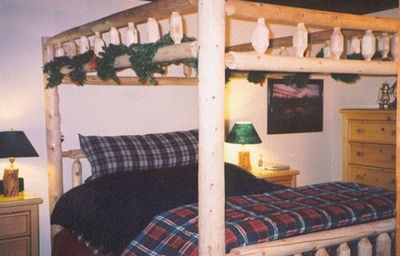 Master Bedroom with Canopy log-pole queen bed