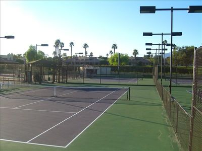 Resurfaced and lighted tennis courts