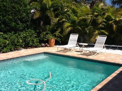 Anna Maria house rental - Gardens have grown in around the pool