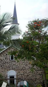 The beautiful, historic Mokuaikaua church viewed from the 3rd floor BBQ deck.