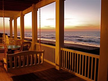 Porch in sunset's glow