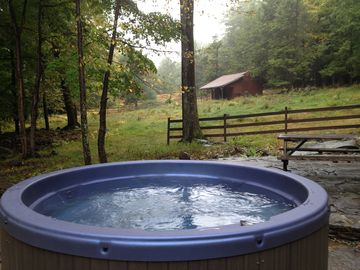 Hot tub with a view of the land