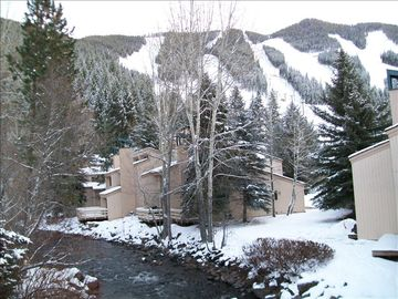 Ketchum condo rental - View from the private deck of Mt. Baldy and Warm Springs Creek.