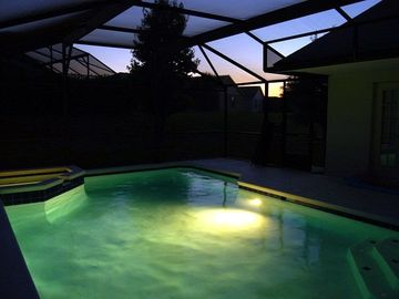 The pool & spa at sunset