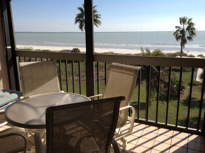 DIRECT VIEW OF GULF FROM SCREENED PORCH ON TOP FLOOR.