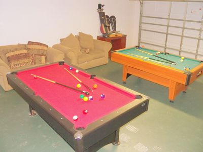 Two pool tables in Game Room (in Garage)