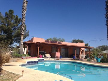 Oro Valley house rental - Front patio of poolside casita - complete with lounge chairs