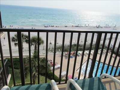 Great view from our 4th floor balcony overlooking heated pool and gulf