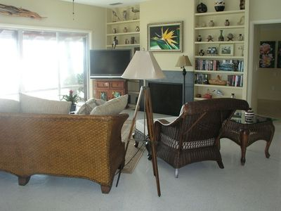 Casey Key house rental - The 10' ceilings and floor to ceiling bookcases create an open and airy feeling.