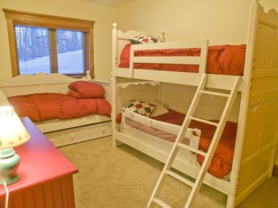 Lower level bedroom with bunk bed(2 twins) and trundle bed(2 twins)