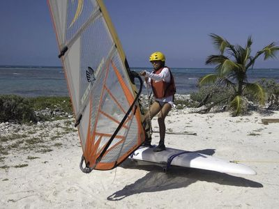 learning windsurf basics on our dry land trainer