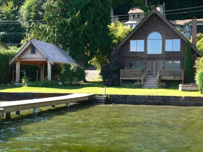 View of cabin from moorage float - Pacific Northwest charm