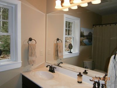 Bartlett house rental - master bath vanity with double sink
