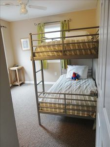 Upstairs twin bunk room with plenty of space for 3rd mattress & in-room vanity