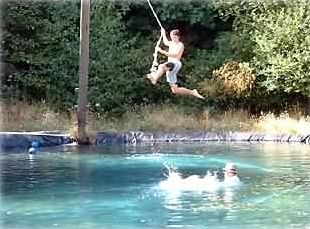 Pool with ropeswing