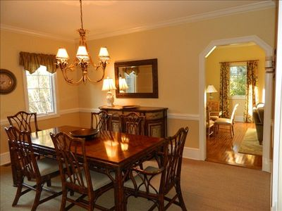 Beautiful Dining Room with seating for 6.  Additional seating for 7 in Kitchen.