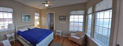 Master Bedroom with views of the ocean and a new king bed