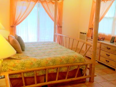 Separate bedroom house king size suite, air conditioned for sleeping comfort