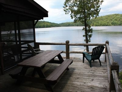 Saranac Lake cabin rental - Gorgeous view of Kiwassa Lake, mountains and sunsets from outside deck