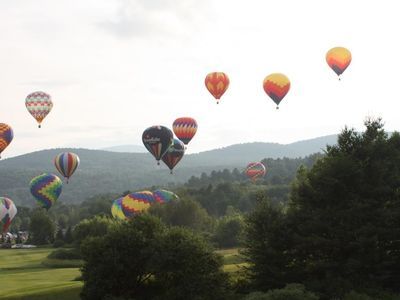 July in Stowe - the hot air balloons in flight.