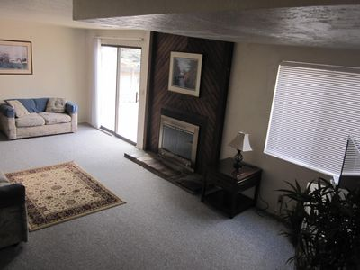 Family room showing fireplace.