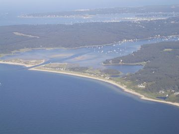 Aerial view of Vineyard Sound, Private Beach (located on the right) and Tashmoo.