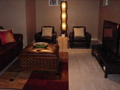 Lower level living room - Queen pull out, 50' TV & Sound system
