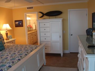 Lots of storage for clothes in new furniture. Condo is very beachy and like new